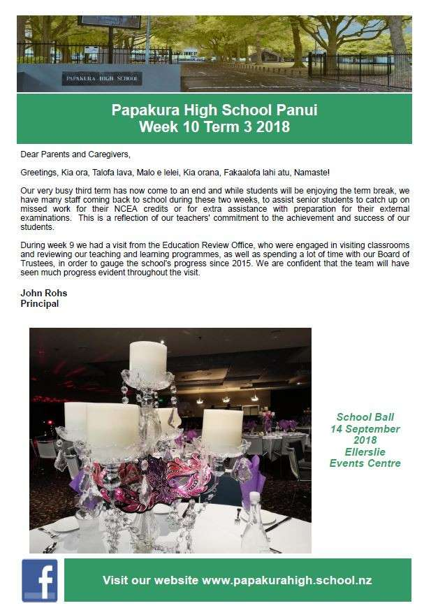 School Newsletter Issue 3 2018   Front Page