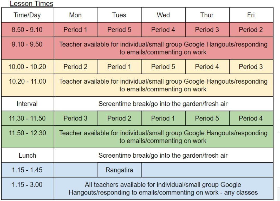 Term 2 Timetable