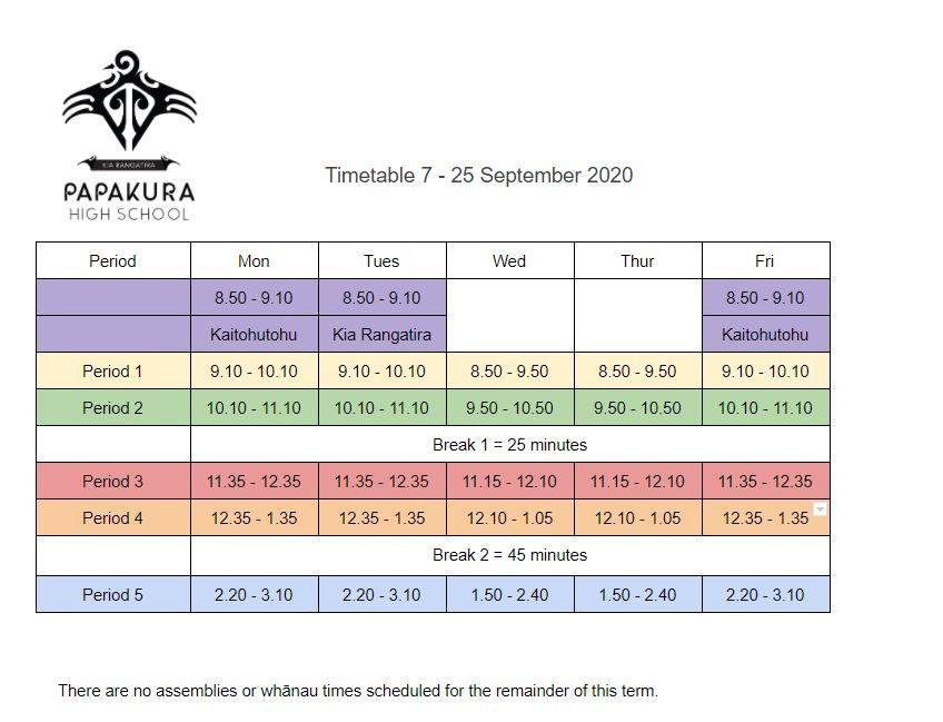 Timetable from 7 - 25 September